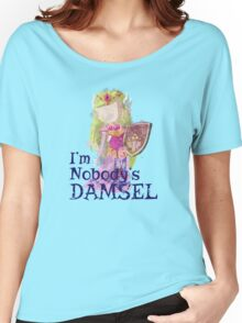 Zelda's Nobody's Damsel in Distressed Font Women's Relaxed Fit T-Shirt