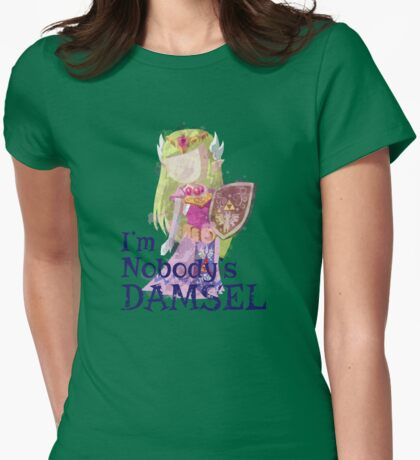 Zelda's Nobody's Damsel in Distressed Font Womens Fitted T-Shirt