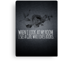 Girl Who Loves Books Canvas Print