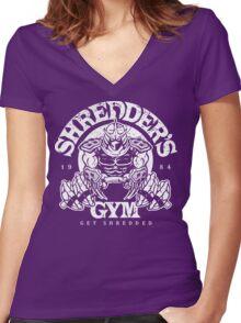 Shredder's Gym Women's Fitted V-Neck T-Shirt