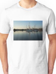 Reflecting on Yachts - Hot Summer Afternoon Mirror Unisex T-Shirt