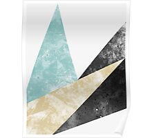 Abstract Geometric Triangle Print turquoise, black and gold Poster