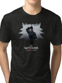 Witcher 3 - Medallion w/ Logo - One Sword Tri-blend T-Shirt