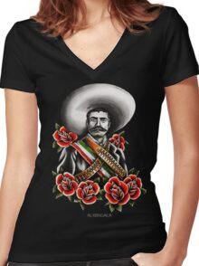 Emiliano Zapata Portrait Women's Fitted V-Neck T-Shirt
