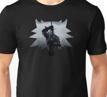 Wolf Medallion Silhouette - Geralt of Rivia - One Sword Unisex T-Shirt