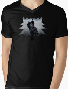 Wolf Medallion Silhouette - Geralt of Rivia - One Sword Mens V-Neck T-Shirt