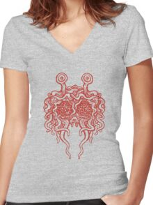 Flying Spaghetti Monster (tomato sauce) Women's Fitted V-Neck T-Shirt