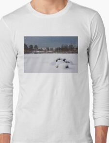 Fluffy Snowdrifts and Ominous, Threatening Skies  Long Sleeve T-Shirt