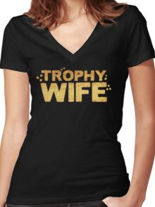 trophy wife in gold foil (image) Women's Fitted V-Neck T-Shirt