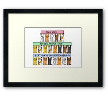 Cats celebrating birthdays on September 6th. Framed Print