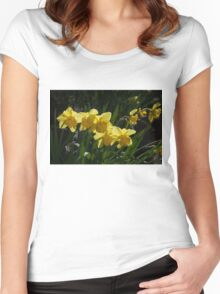 Sunny, Windy Spring Garden with Daffodils Women's Fitted Scoop T-Shirt