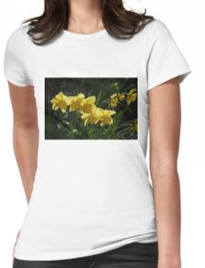 Sunny, Windy Spring Garden with Daffodils Womens Fitted T-Shirt