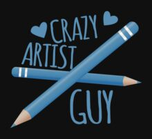 Crazy Artist Guy with blue pencils Kids Tee