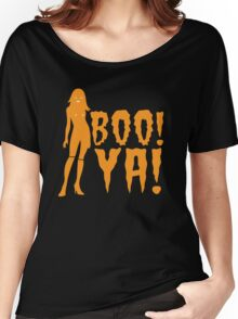 BOO! YA! sexy woman figure Halloween laugh  Women's Relaxed Fit T-Shirt