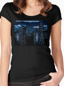 Night Cityscape Background Women's Fitted Scoop T-Shirt