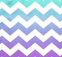 Purple Mint Aqua Ombre Chevron Pattern by hyakume