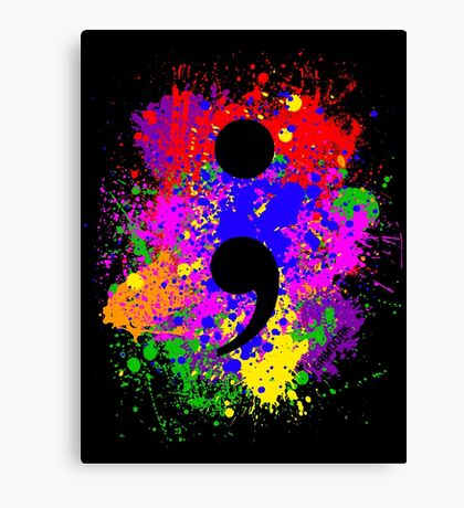 Semicolon Paint Splatter Canvas Print