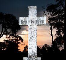 White cross at sunset by VisualFX