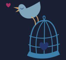 Cute little bluebird singing love heart birdcage Kids Tee