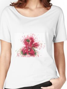 Red Orchid Watercolour Print Women's Relaxed Fit T-Shirt