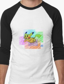 Springing Pikachu Men's Baseball ¾ T-Shirt