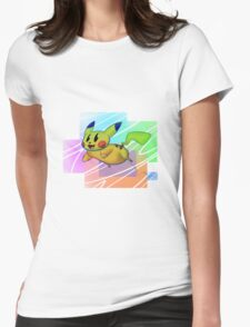 Springing Pikachu Womens Fitted T-Shirt