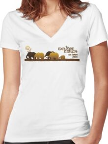 Explore Nature Echidna Walkabout On Safari 2016 Women's Fitted V-Neck T-Shirt