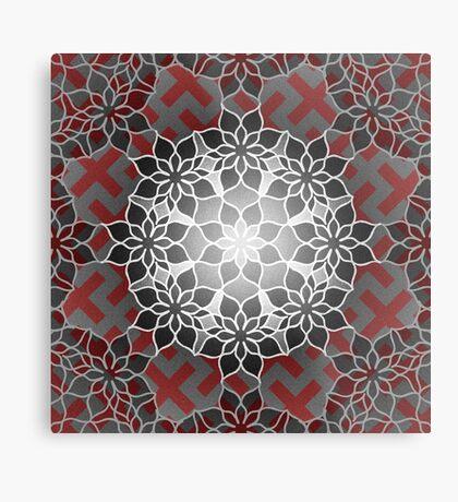 Octagonal Floral Mandala Sayagata Layered Metal Print