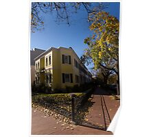 Washington, DC Facades – Sharp Autumn Shadows in Foggy Bottom Neighborhood Poster