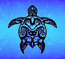 Black Blue Tribal Turtle by BailoutIsland