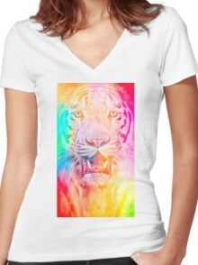 Tiger red Women's Fitted V-Neck T-Shirt