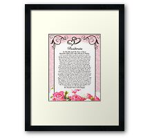 desiderata poem, hearts & roses for valentines or mothers day Framed Print
