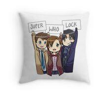 Chibi SuperWhoLock Throw Pillow