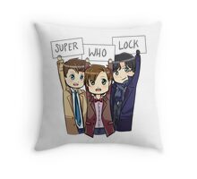 Chibi SuperWhoLock Throw Pillow