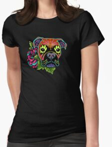Boxer in Fawn - Day of the Dead Sugar Skull Dog Womens Fitted T-Shirt