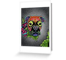 Boxer in Fawn - Day of the Dead Sugar Skull Dog Greeting Card
