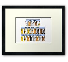 Cats celebrating birthdays on November 3rd. Framed Print