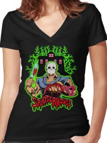 House of Splatter (Green Edition) Women's Fitted V-Neck T-Shirt