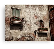 Windows of an old rustic house with flowers art photo print Canvas Print