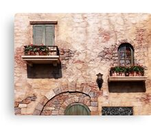 Windows with flowers of old rustic house art photo print Canvas Print