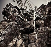 Steampunk land boring machine at Disneysea black and white art photo print by ArtNudePhotos
