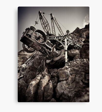 Steampunk land boring machine at Disneysea black and white art photo print Canvas Print