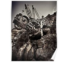 Steampunk land boring machine at Disneysea black and white art photo print Poster