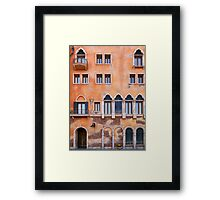 Venetian building wall with windows architectural texture art photo print Framed Print