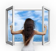Woman opening window with view on sea art photo print by ArtNudePhotos