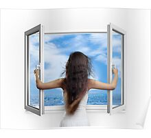 Woman opening window with view on sea art photo print Poster
