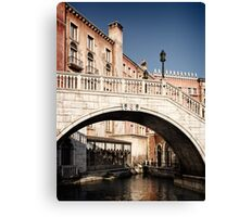 Bridge over canal Venetian architecture details art photo print Canvas Print
