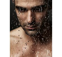 Thoughtful man face under pouring water art photo print Photographic Print