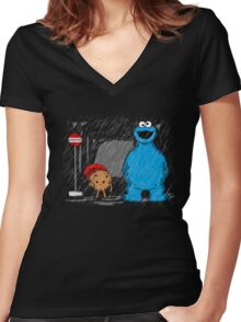 My neighbor cookie monster Women's Fitted V-Neck T-Shirt