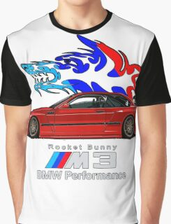 BMW E36 M3 Coupe - Rocket Bunny / Wolf Tribal (Red) Graphic T-Shirt